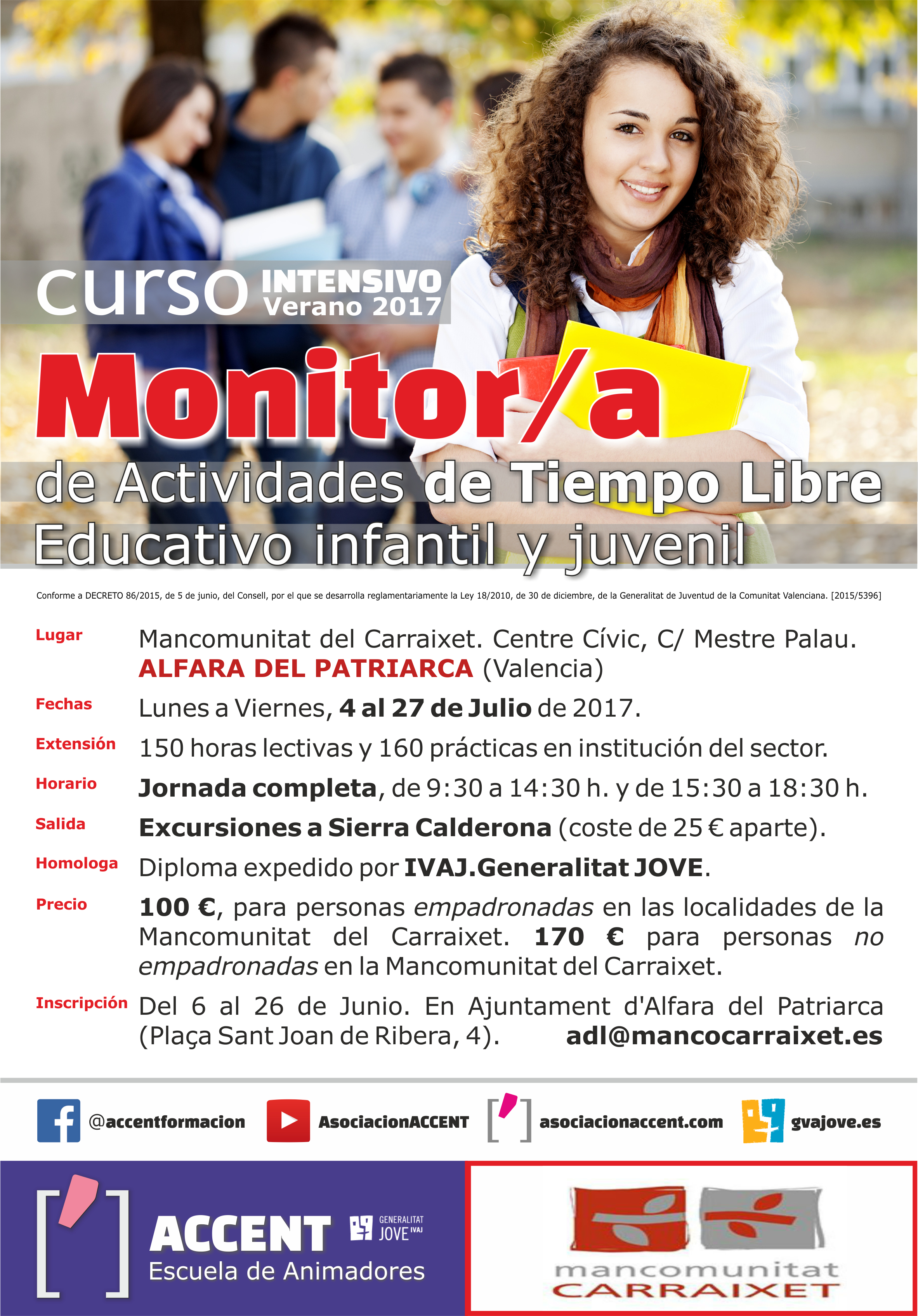 ACCENT · MANCOMUNITAT CARRAIXET Cartel MONITOR Julio