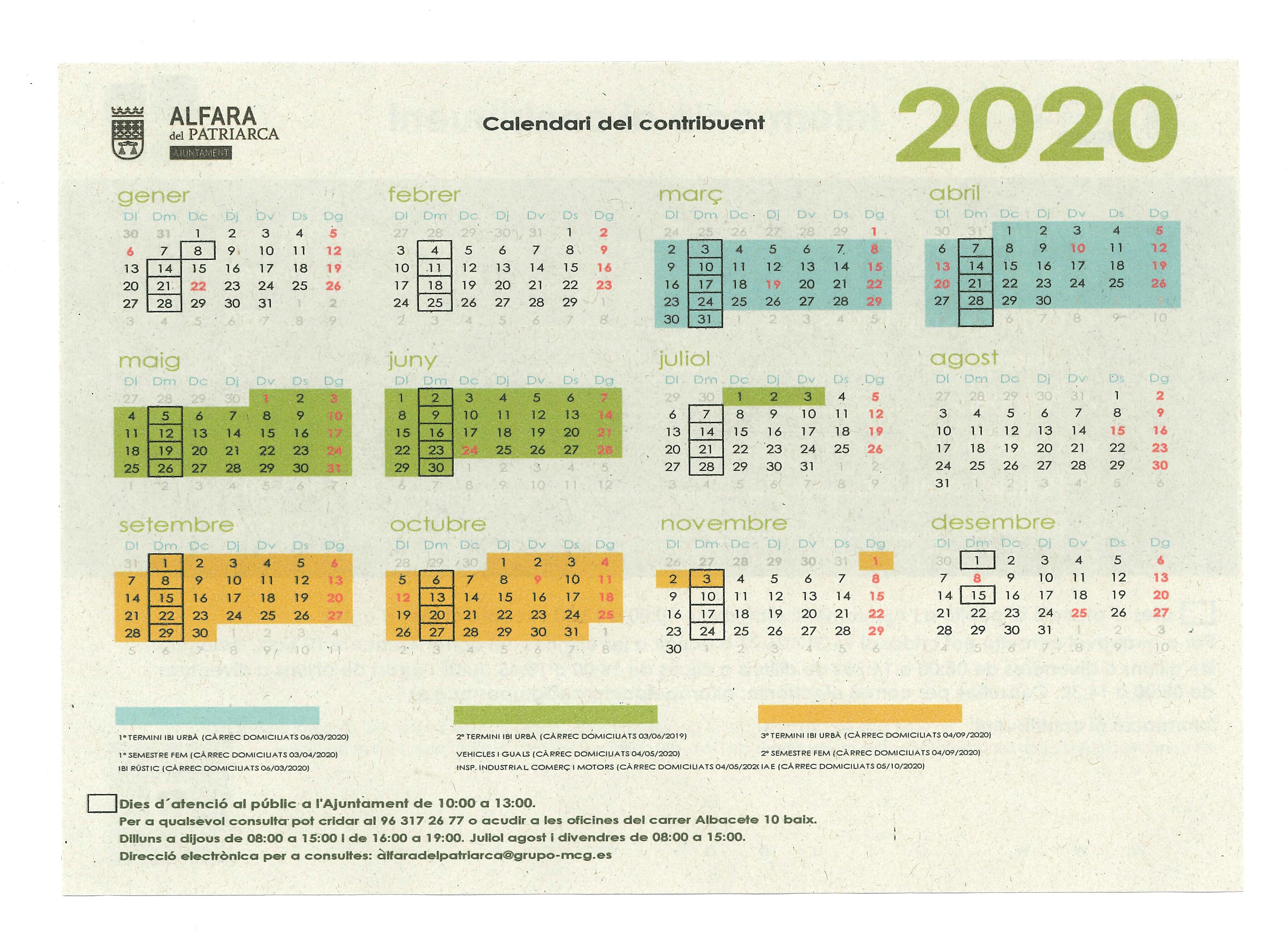 calendari contribuent